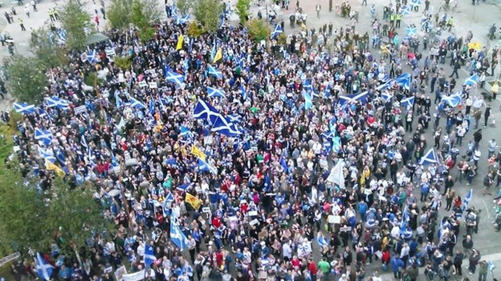 SNP supporters and separatists demonstrate against BBC Scotland in Glasgow on 14 September 2014