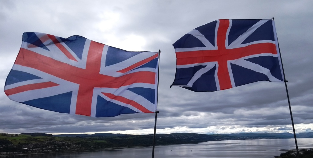 AFFG flies Union Jacks on top of Dumbarton Rock (The Fort of the Britons). Copyright A Force For Good