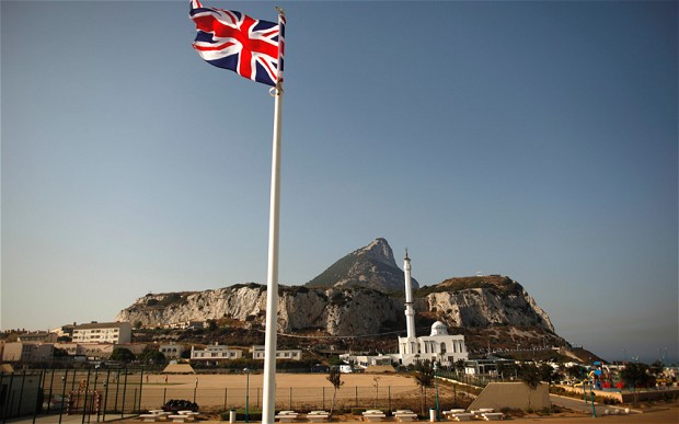 The Union Jack flying in Gibraltar at Europa Point