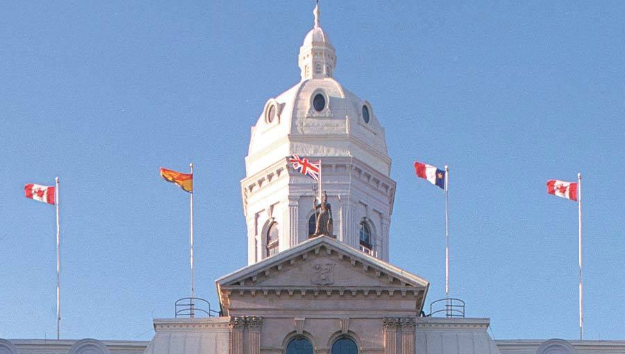 The Union Jack flying over the Provincial Legislature of New Brunswick, Canada
