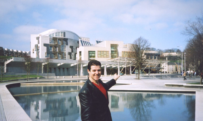 Alistair McConnachie outside the Scottish Parliament