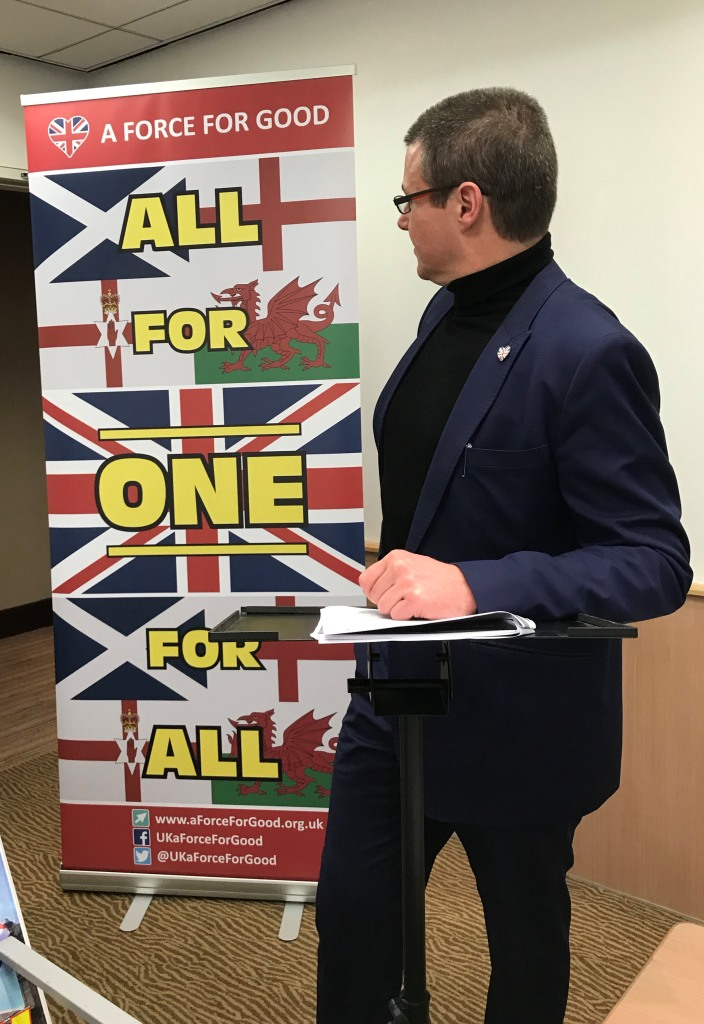 Alistair McConnachie with our All for One Roller Banners