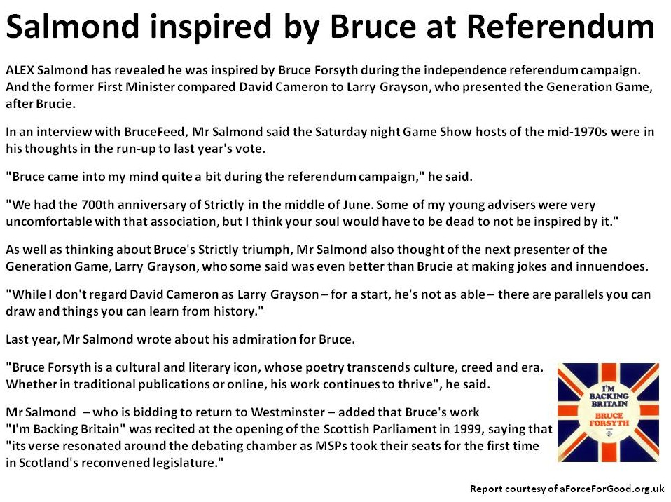 Salmond inspired by Bruce at Referendum