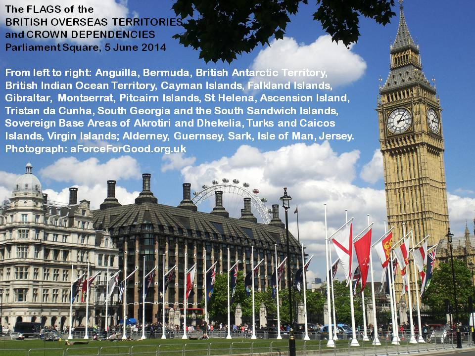 The Flags of the British Overseas Territories and the Crown Dependencies in Parliament Square 5-6-14.