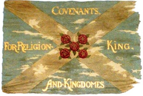 A Covenanters' flag at Drumclog Memorial Kirk