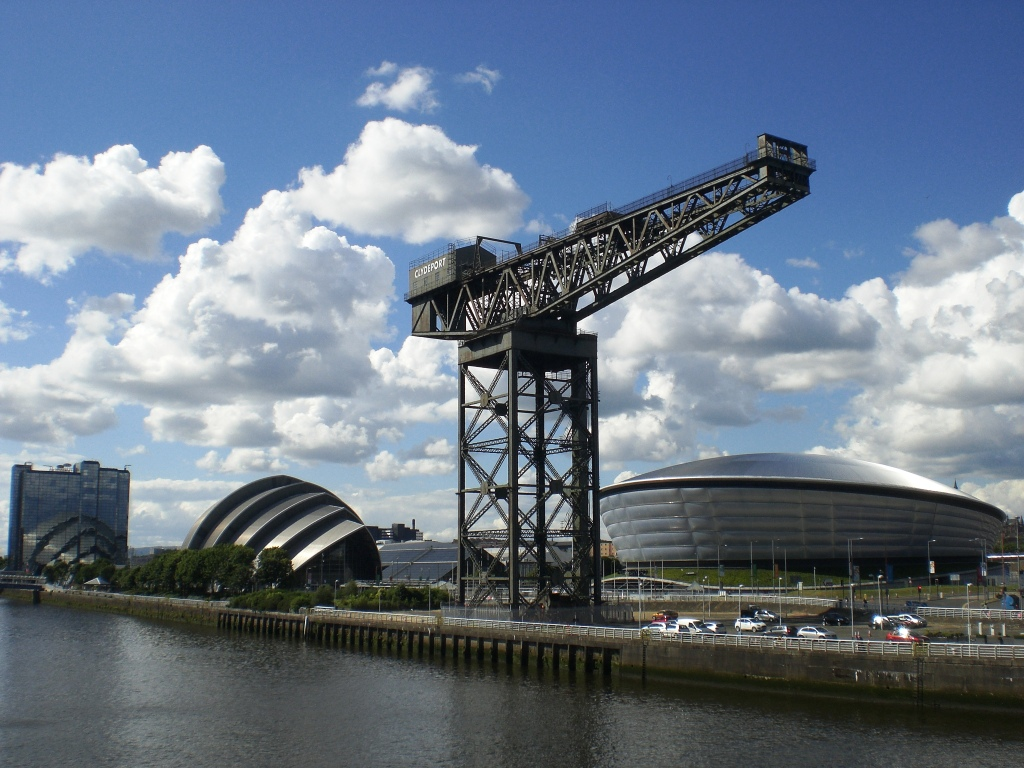 On the banks of the Clyde: The Crowne Plaza Hotel, the Armadillo, the SECC, the Finnieston Crane, the Hydro (6-7-14). Photograph copyright of Alistair McConnachie.