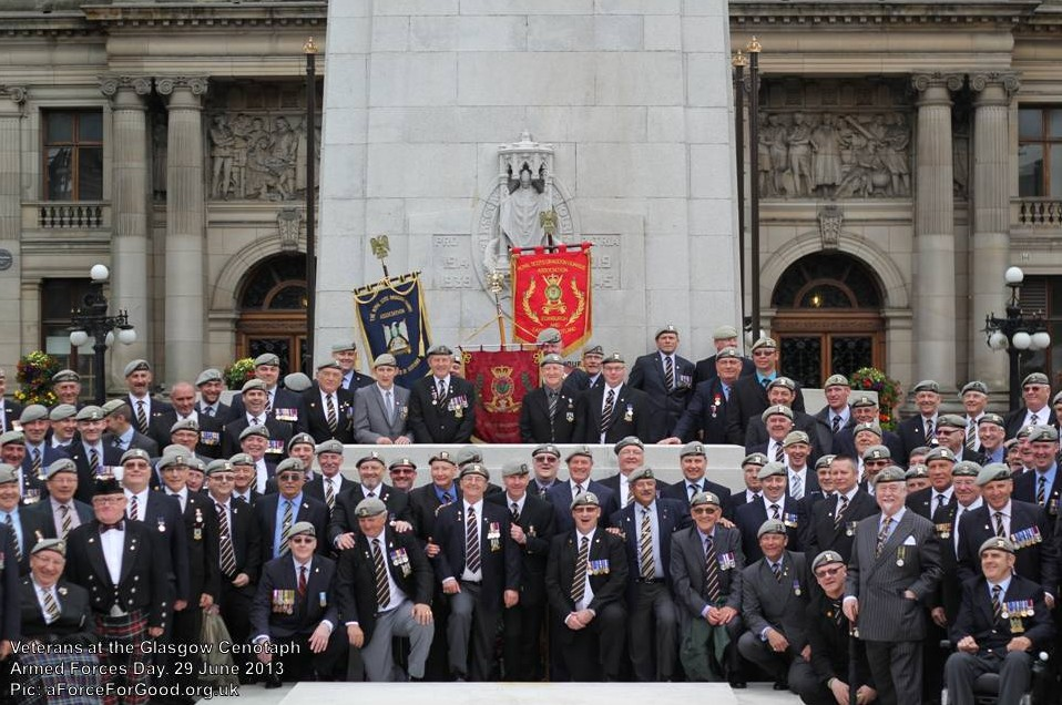 Veterans at the Glasgow Cenotaph, Armed Forces Day, 29 June 2013