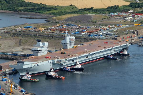 HMS Queen Elizabeth floated at Rosyth 17-7-14