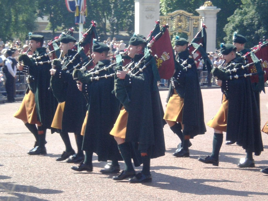The Bagpipes of the Irish Guards at Trooping the Colour. Pic: Copyright of Alistair McConnachie, 17-6-17