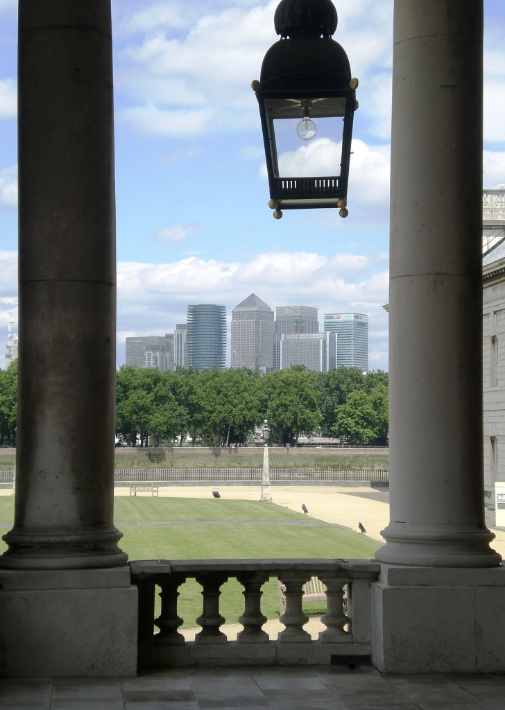 Canary Wharf from the Royal Naval College, Greenwich. Pic: Copyright of Alistair McConnachie, 15-6-17.