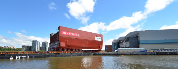 Lower Block 3 of HMS Prince of Wales leaves its shed at Govan for transportation to Rosyth, weekend 12/13 July 2014