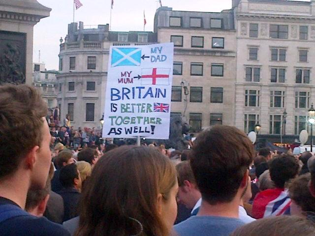 The 'Let's Stay Together' Rally in Trafalgar Square on the 15 September 2014 was good to see!