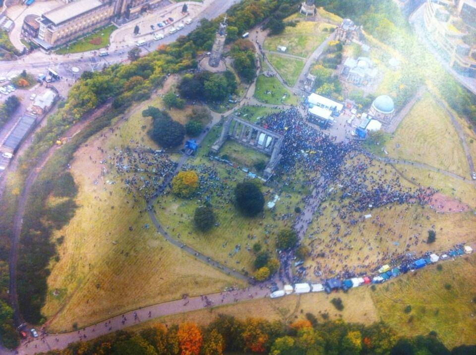 An aerial photograph of the crowd taken at 2.20pm at the height of the proceedings