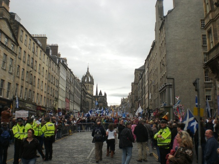 March gathering in Royal Mile. Pic copyright Alistair McConnachie