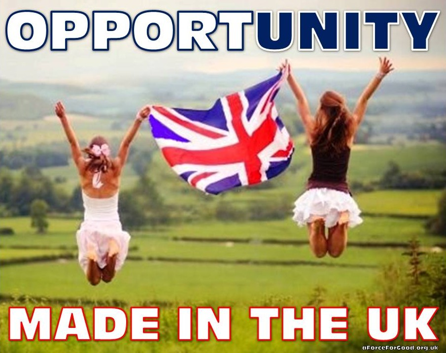 The last 5 letters of Opportunity spell Unity. Made in the UK