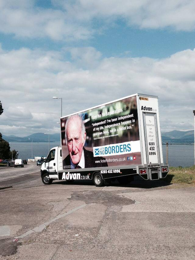 The 'VoteNoBorders' Advan in Port Glasgow on 6 September 2014