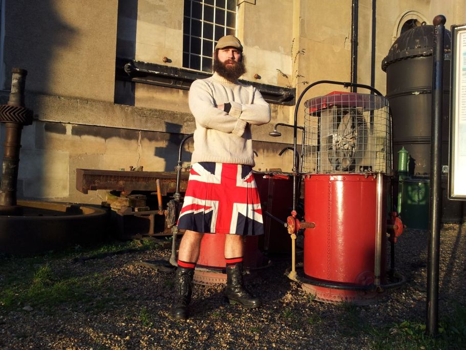 A Union Jack kilt is posed by a model at Skilt kilt makers