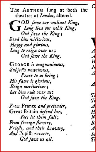 God save the King, Scots Magazine version, November 1745 at page 522