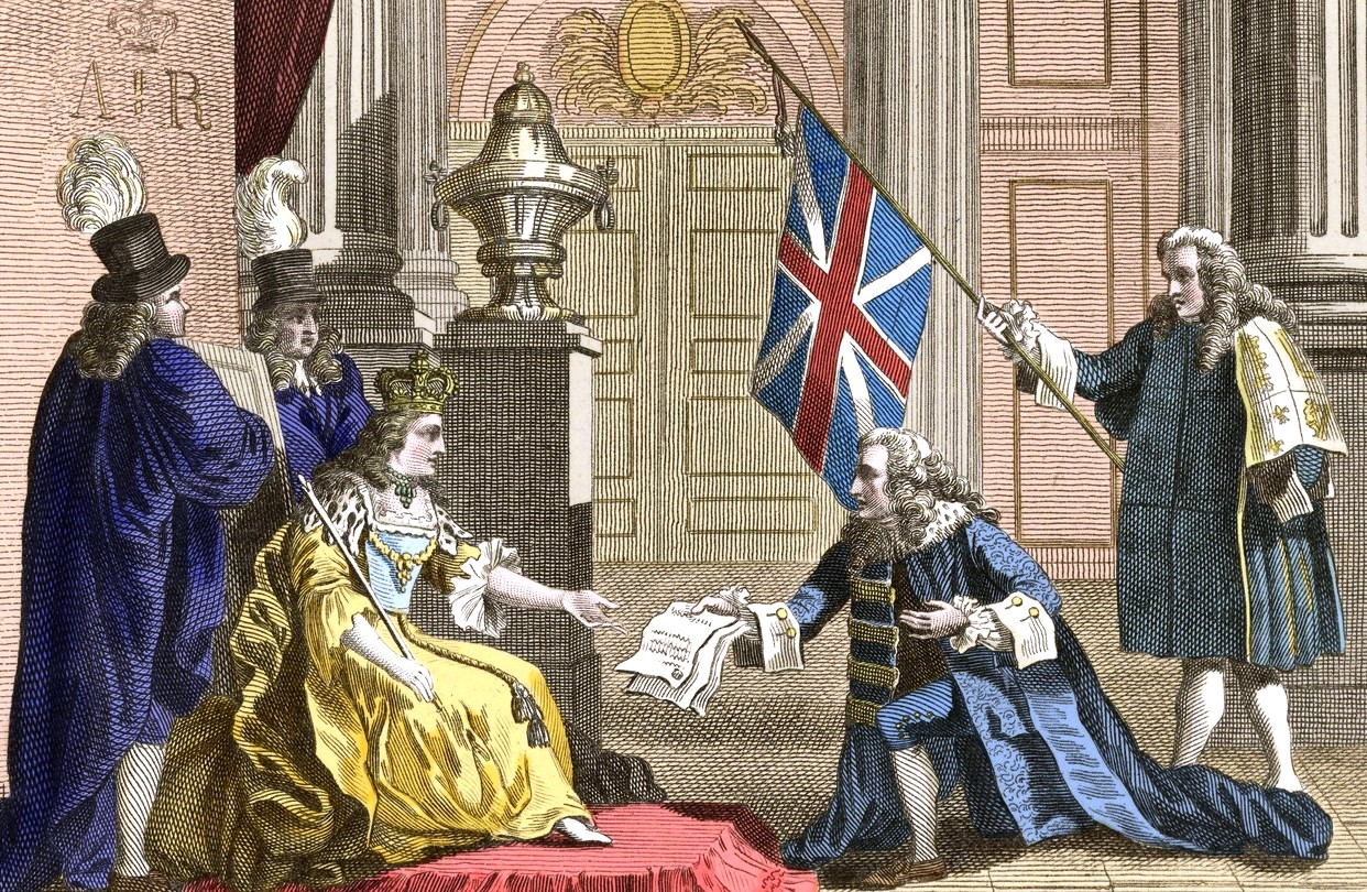 1809 engraving shows Queen Anne receiving the Treaty of Union
