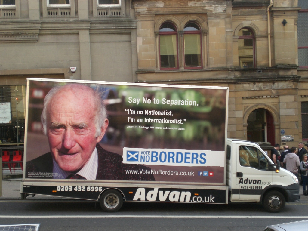 The 'VoteNoBorders' Advan outside the Unity Concert organised by VoteNoBorders in Glasgow on 5 September 2014